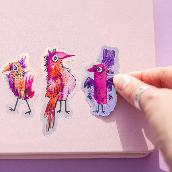 """funky BIRDS"" Hologram-Sticker 3er Set"
